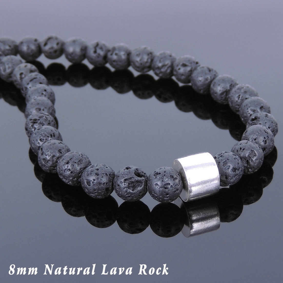 8mm Lava Rock Healing Stone Necklace with S925 Sterling Silver Simple Protection Barrel Bead & S-Hook Clasp - Handmade by Gem & Silver NK111