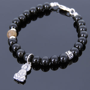 Golden Agarwood & Black Obsidian Healing Gemstone Bracelet with S925 Sterling Silver Guanyin Pendant & Clasp - Handmade by Gem & Silver BR706