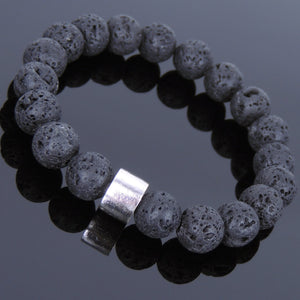 10mm Lava Rock Healing Stone Bracelet with S925 Sterling Silver Simple Wheel Charm - Handmade by Gem & Silver BR709