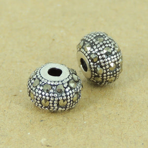 2 PCS Vintage Ornate Marcasite Beads - S925 Sterling Silver WSP426X2