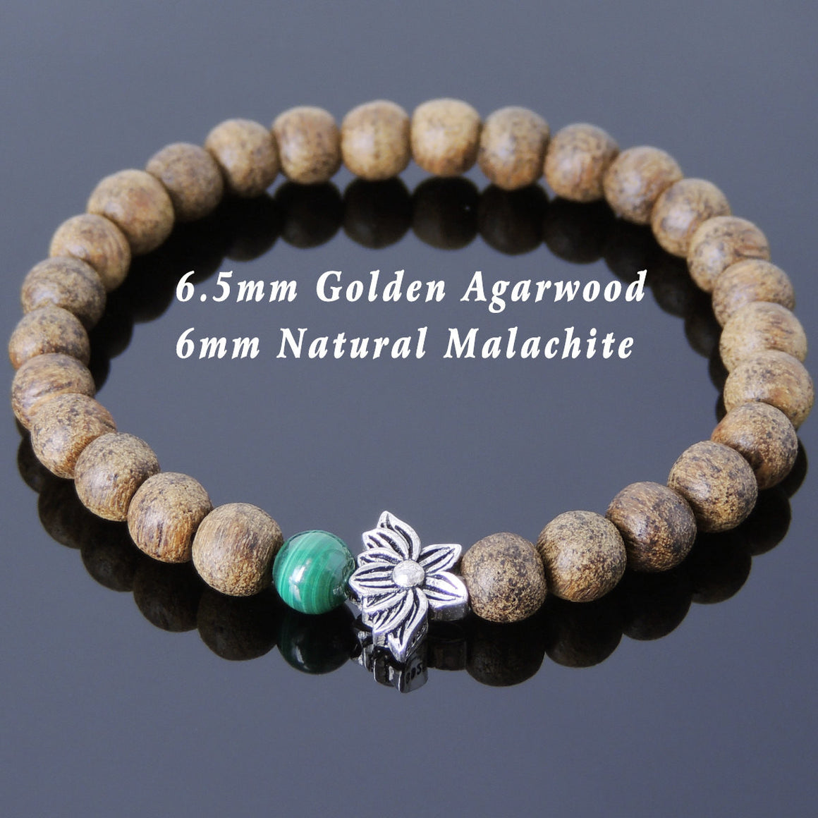 Vietnam Golden Agarwood Bracelet for Prayer & Meditation with S925 Sterling Silver Vintage Double-Sided Lotus Bead - Handmade by Gem & Silver BR715