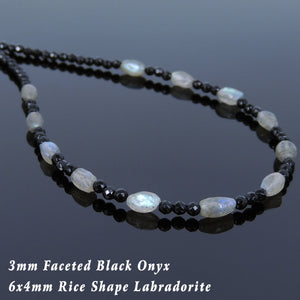 Labradorite & Faceted Black Onyx Healing Gemstone Necklace with S925 Sterling Silver Spacer Beads & Clasp - Handmade by Gem & Silver NK118