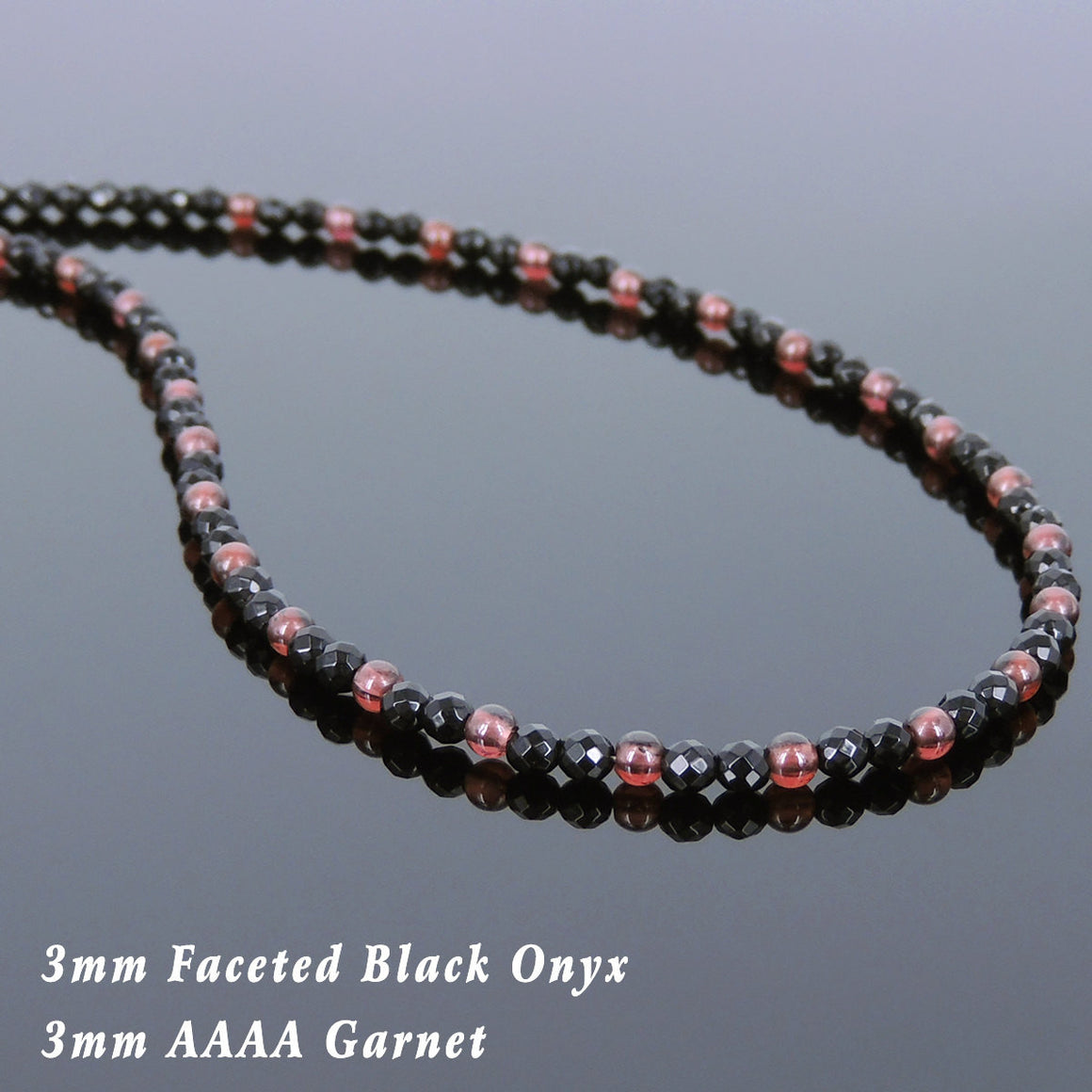 Grade AAAA Natural Garnet & Faceted Black Onyx Healing Gemstone Necklace with S925 Sterling Silver Spacer Beads & Clasp - Handmade by Gem & Silver NK119