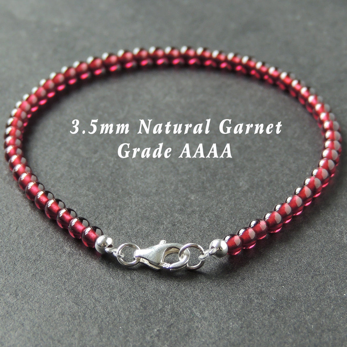 3.5mm Grade AAAA Garnet Healing Gemstone Bracelet with S925 Sterling Silver Spacer Beads & Clasp - Handmade by Gem & Silver BR710
