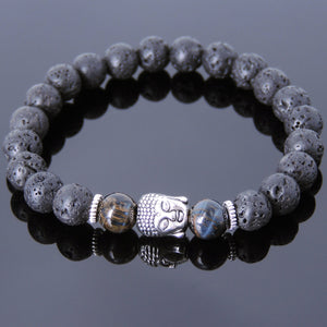 Rare Mixed Blue Tiger Eye & Lava Rock Healing Gemstone Bracelet with Tibetan Silver Sakyamuni Buddha & Spacers - Handmade by Gem & Silver TSB156