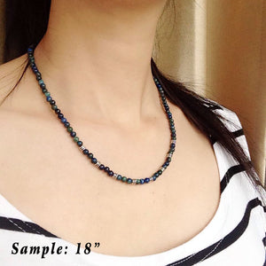 4mm Mixed Chrysocolla Lapis Lazuli Healing Gemstone Necklace with S925 Sterling Silver Artisan Beads & Clasp - Handmade by Gem & Silver NK105