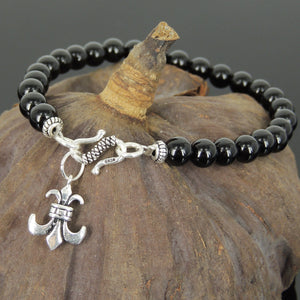 6mm Bright Black Onyx Healing Gemstone Bracelet with S925 Sterling Silver Fleur de Lis Pendant & S-Hook Clasp - Handmade by Gem & Silver BR735_425
