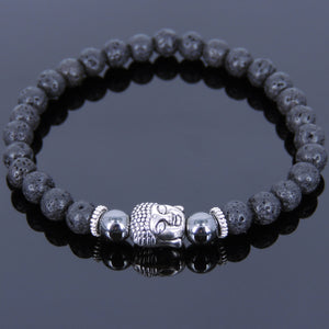 6mm Hematite & Lava Rock Healing Gemstone Bracelet with Tibetan Silver Sakyamuni Buddha & Spacers - Handmade by Gem & Silver TSB125