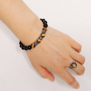 8mm Rainbow Black Obsidian & Brown Tiger Eye Healing Gemstone Bracelet with S925 Sterling Silver OM Meditation Beads & Clasp - Handmade by Gem & Silver BR123
