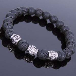 8mm Lava Rock Healing Stone Bracelet with Tibetan Silver OM Meditation Cylinder Beads - Handmade by Gem & Silver TSB138