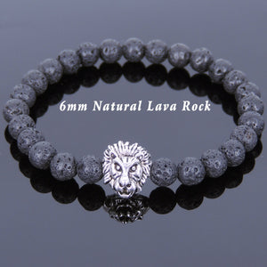 6mm Lava Rock Healing Stone Bracelet with Vintage Tibetan Silver Lion Head Courage Charm - Handmade by Gem & Silver TSB140