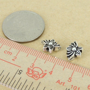 2 PCS Vintage Lotus Flower Beads - S925 Sterling Silver WSP416X2