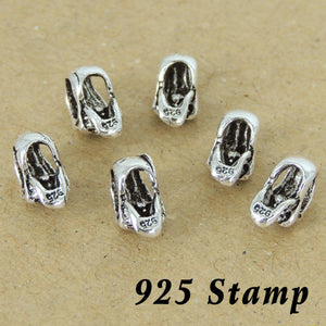 6 PCS Vintage Celtic Skull Bead Spacer Beads with S925 Sterling Silver Stamp WSP214X6