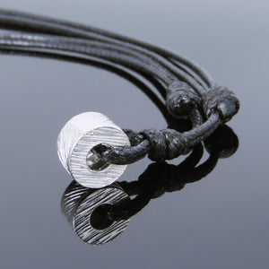 Adjustable Wax Rope Necklace with S925 Sterling Silver Textured Wheel Charm - Handmade by Gem & Silver NK112
