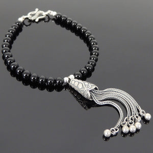 4mm Bright Black Onyx Healing Gemstone Bracelet with S925 Sterling Silver Asian Peacock Pendant, Spacer Beads & S-Hook Clasp - Handmade by Gem & Silver BR705