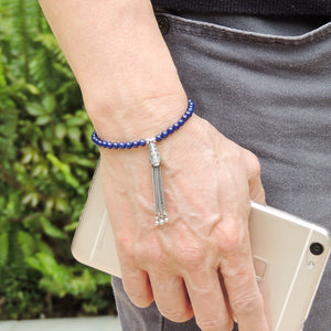 4mm Lapis Lazuli Healing Gemstone Bracelet with S925 Sterling Silver Asian Peacock Pendant & S-Hook Clasp BR704