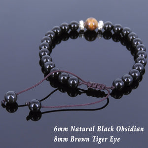6mm Rainbow Black Obsidian & Brown Tiger Eye Adjustable Braided Bracelet with Tibetan Silver Artisan Beads - Handmade by Gem & Silver TSB115