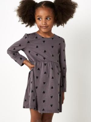 Sugar Squad Heart Print Dress Grey - Dress