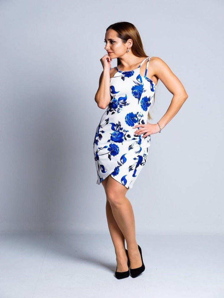 STACEY WHITE BLUE FLORAL DRESS