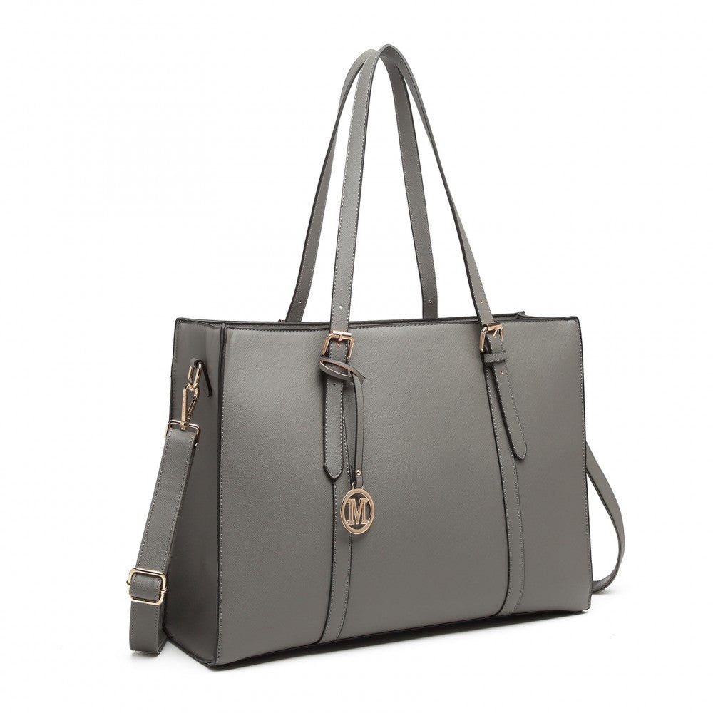 MISS LULU LEATHER HANDBAG EXQUISITE HARDWARE DECORATION SHOULDER BAG GREY - Fashion Trendz