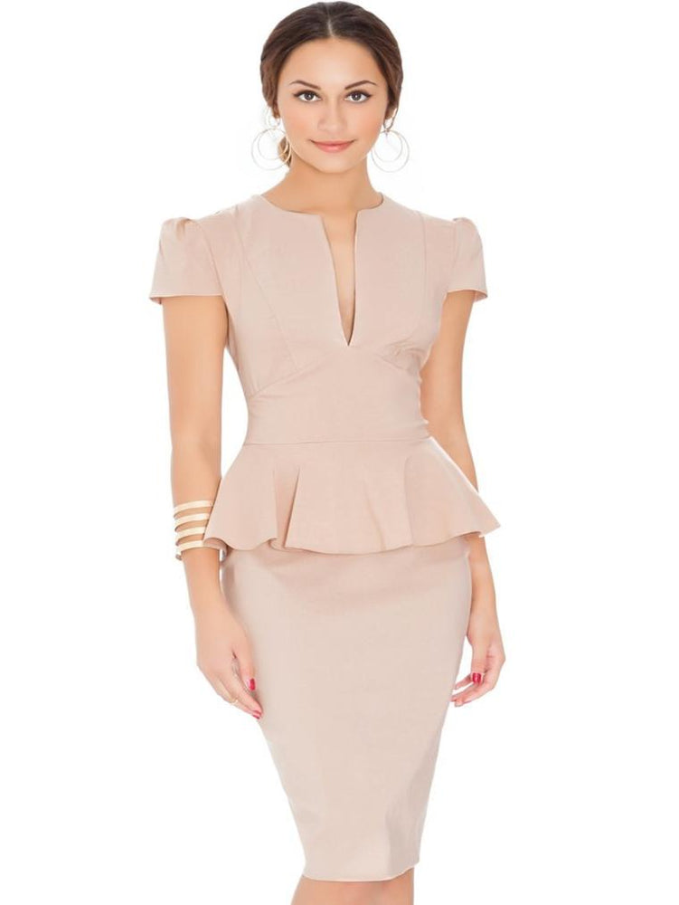 DAPHNE DEEP V PEPLUM DRESS STONE - Fashion Trendz