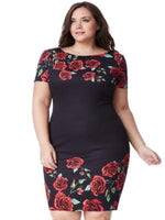 ELISKA PLUS SIZE ROSE PRINT MIDI DRESS - Fashion Trendz