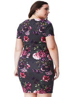 ELISKA PLUS SIZE SHORT SLEEVED MULTI PRINT MIDI DRESS - Fashion Trendz