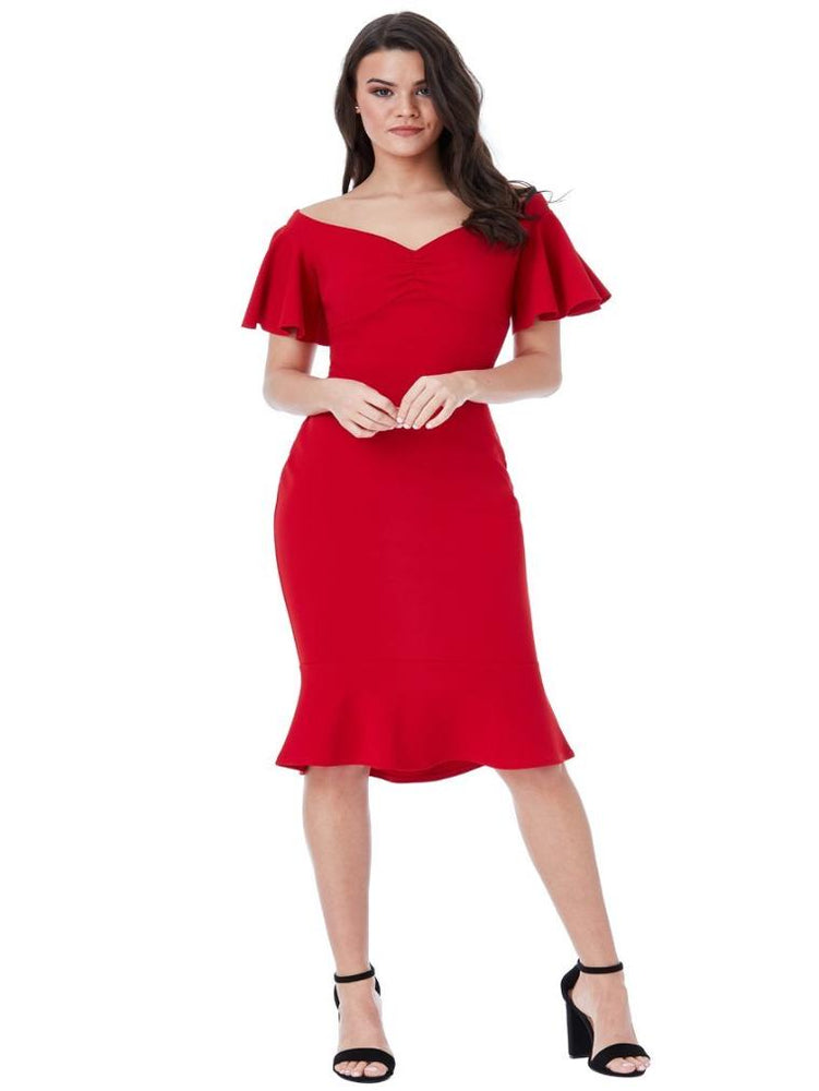 CHAKRA OFF THE SHOULDER MIDI DRESS WITH RUFFLE SLEEVES RED - Fashion Trendz