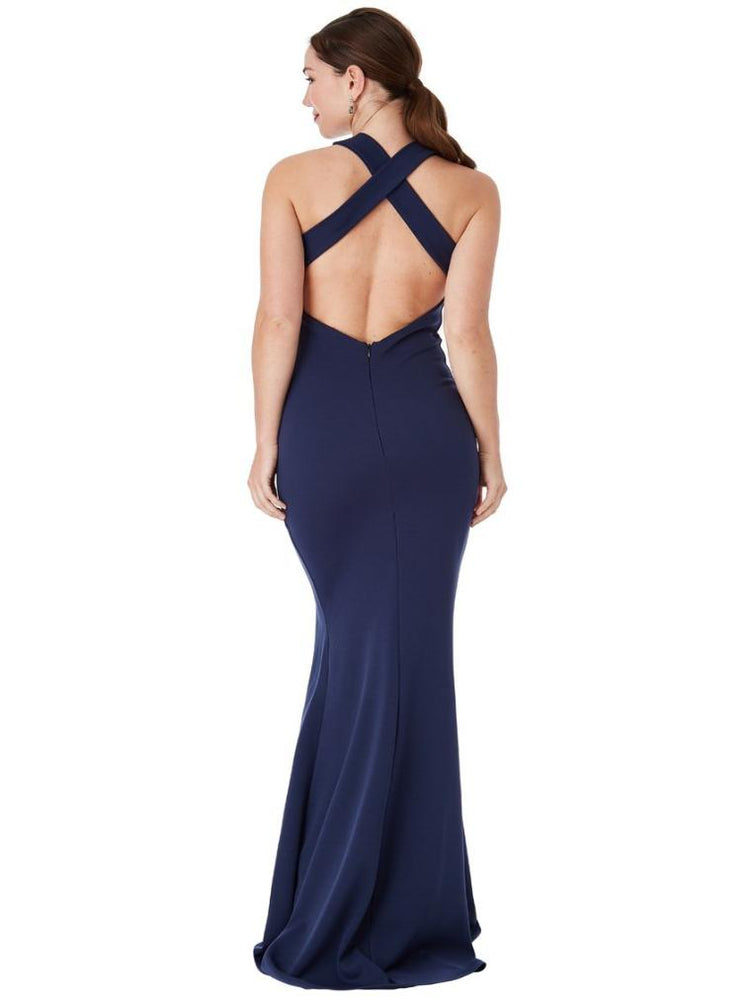 CLARISSA CRISS CROSS OPEN BACK MAXI DRESS NAVY - Fashion Trendz