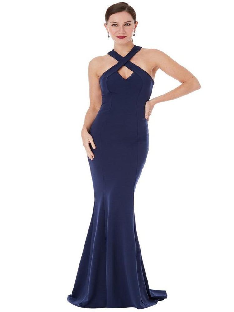 CLARISSA CRISS CROSS OPEN BACK MAXI DRESS NAVY