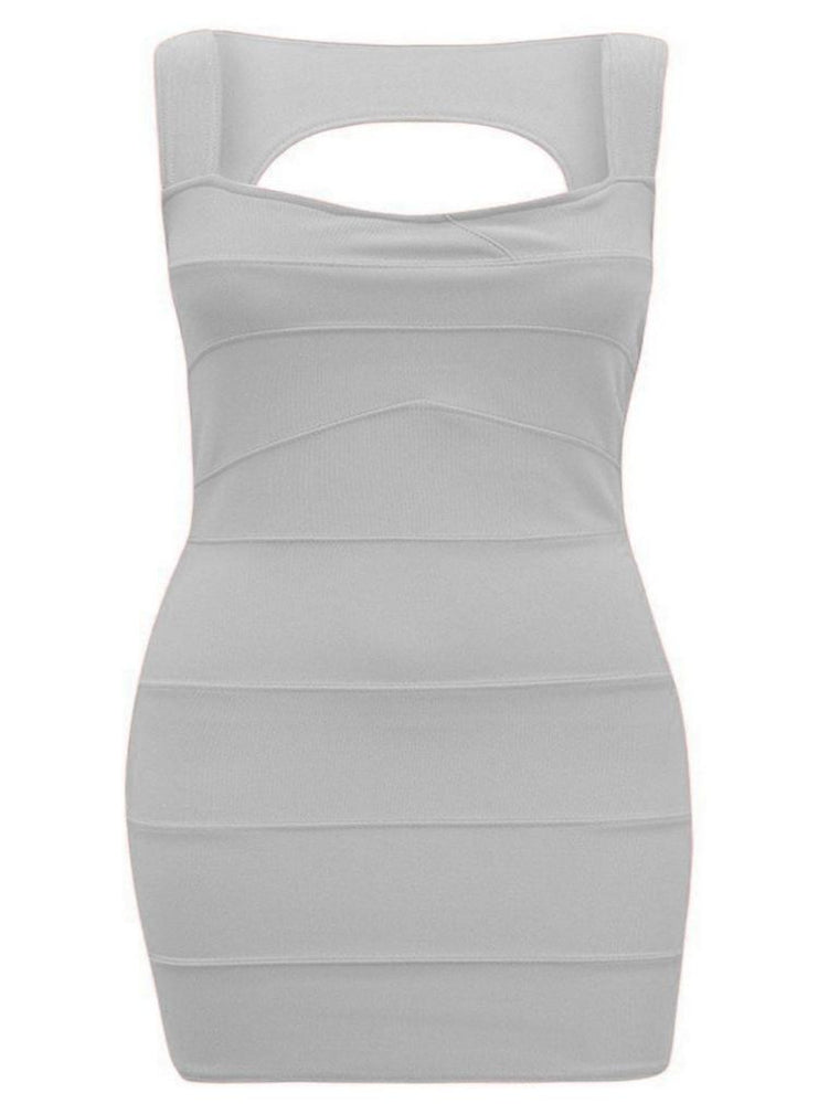PLEATED RIBBED BANDAGE SLEEVELESS BODYCON STRETCH DRESS