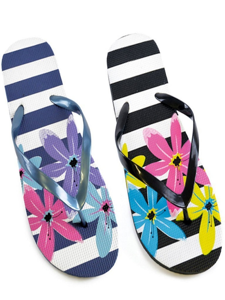 BROAD STRIPE FLOWER PRINT FLIP FLOPS - Fashion Trendz