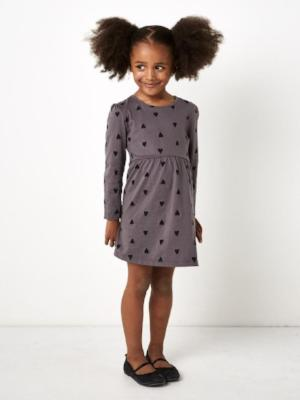SUGAR SQUAD HEART PRINT DRESS GREY - Fashion Trendz
