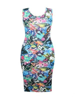 ANIMATED COMIC PRINT SLEEVELESS MUSCLE BACK MIDI DRESS - Fashion Trendz