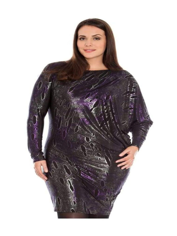 ARACIA ASYMMETRIC FOIL PRINT JERSEY PARTY DRESS PURPLE