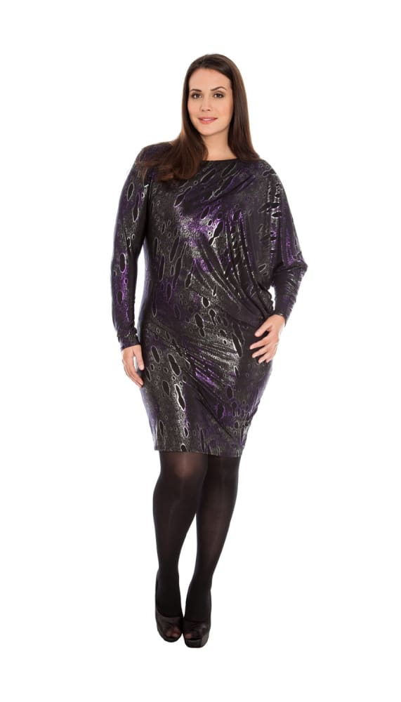ARACIA ASYMMETRIC FOIL PRINT JERSEY PARTY DRESS PURPLE - Fashion Trendz