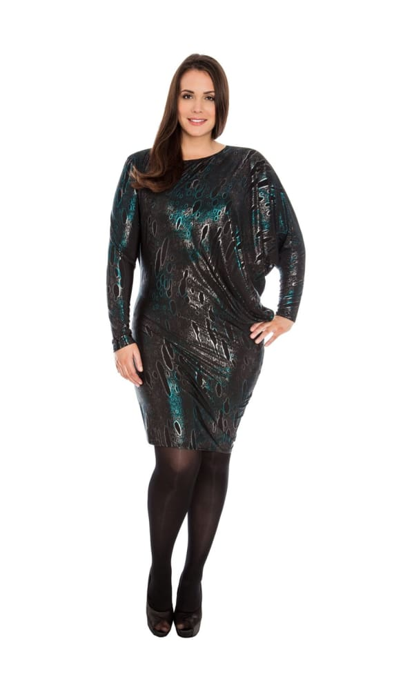 ARACIA ASYMMETRIC FOIL PRINT JERSEY PARTY DRESS TEAL - Fashion Trendz