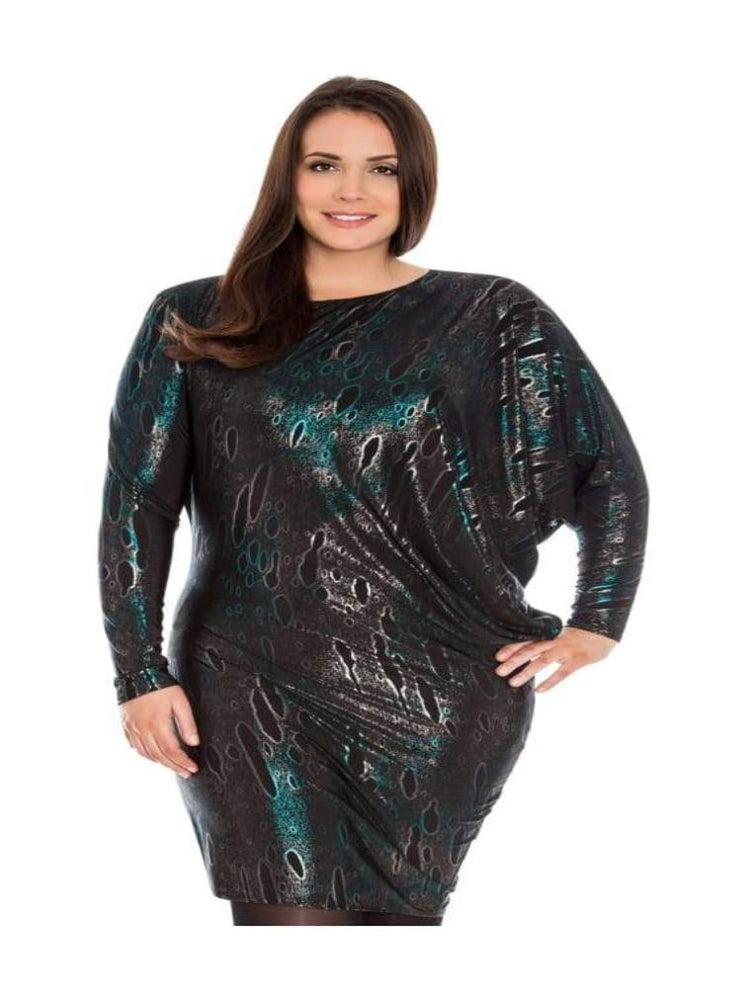 ARACIA ASYMMETRIC FOIL PRINT JERSEY PARTY DRESS TEAL