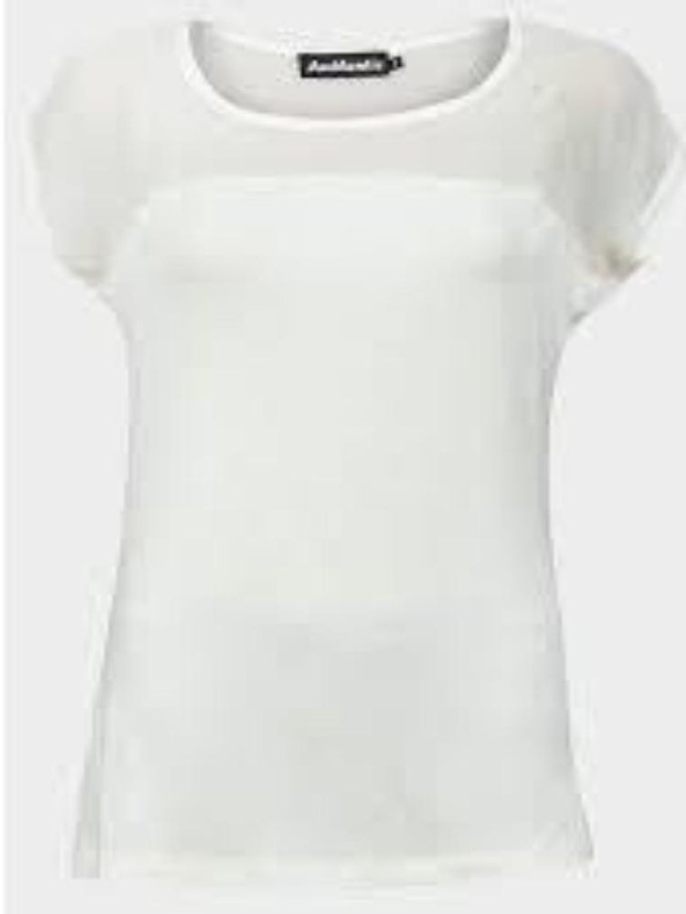 AUTHENTIC LADIES SCOOP NECKLINE TOP WHITE - Fashion Trendz