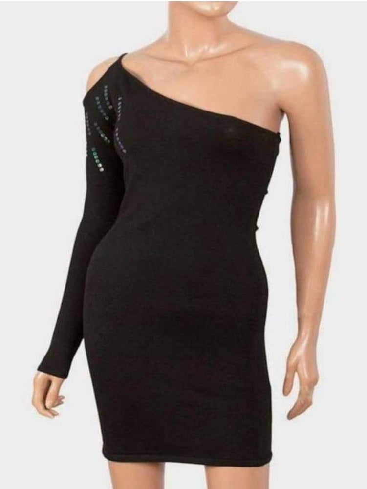 B-SOUL LADIES ONE SHOULDER DRESS BLACK
