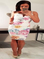 MISHKA FLORAL MULTICOLOURED PLUNGE 'V' NECK BODYCON DRESS - Fashion Trendz