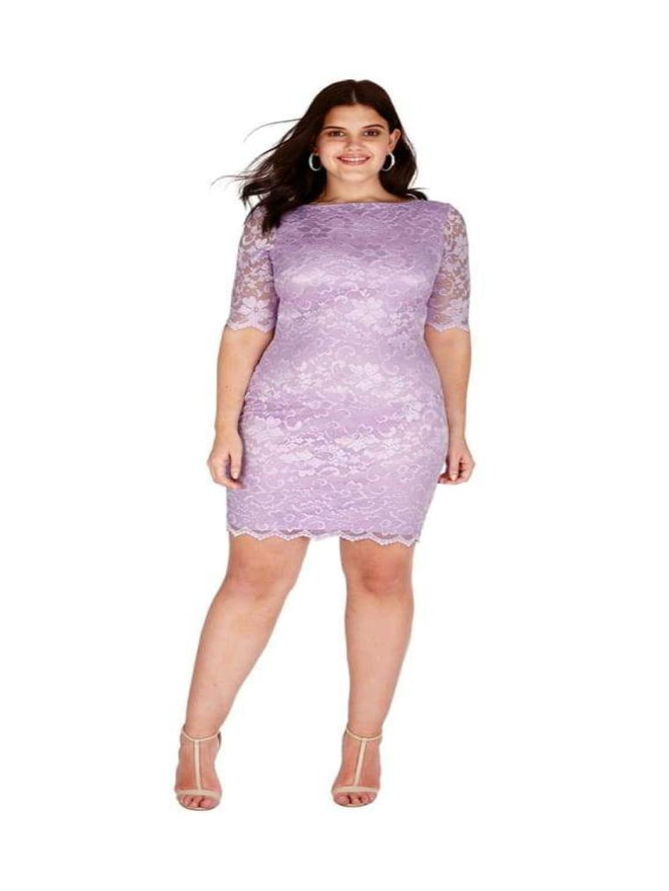 BRIANA HALF SLEEVE FITTED LACE PLUS SIZE MIDI DRESS - Fashion Trendz
