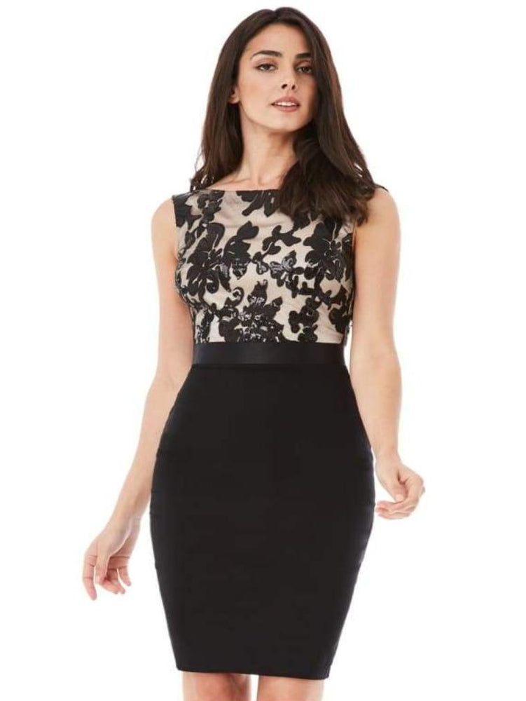 BRONTE SEQUIN EMBELLISHED MIDI DRESS BLACK/NUDE - Fashion Trendz