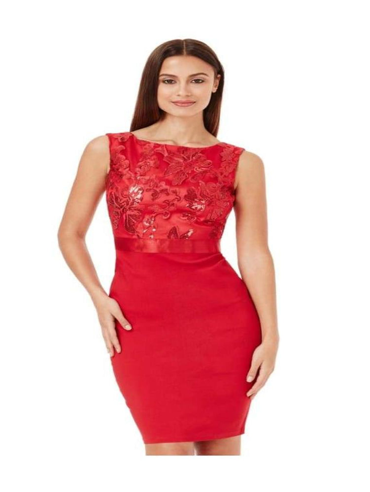 BRONTE SEQUIN EMBELLISHED MIDI DRESS RED - Fashion Trendz