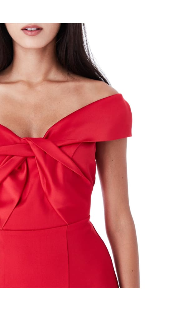 CANTRELLE DOUBLE SATIN BARDOT MIDI DRESS WITH TWISTED NECKLINE RED - Fashion Trendz
