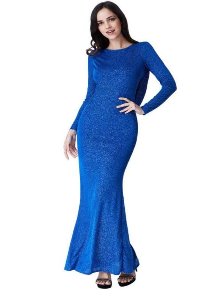 CASILDA GLITTER COWL BACK MAXI DRESS WITH SLEEVES ROYAL BLUE