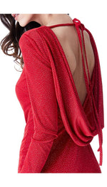 CASILDA GLITTER COWL BACK MINI DRESS WITH SLEEVES RED - Fashion Trendz