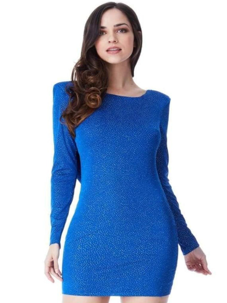 CASILDA GLITTER COWL BACK MINI DRESS WITH SLEEVES ROYAL BLUE