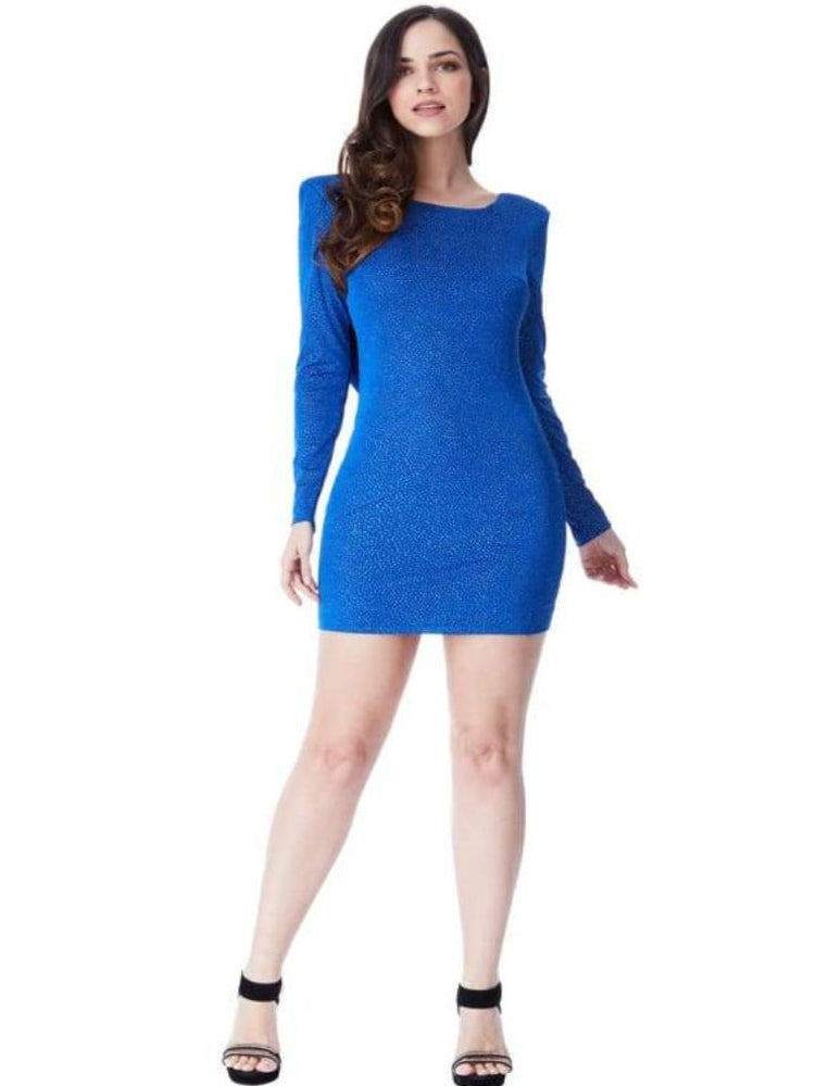 CASILDA GLITTER COWL BACK MINI DRESS WITH SLEEVES ROYAL BLUE - Fashion Trendz