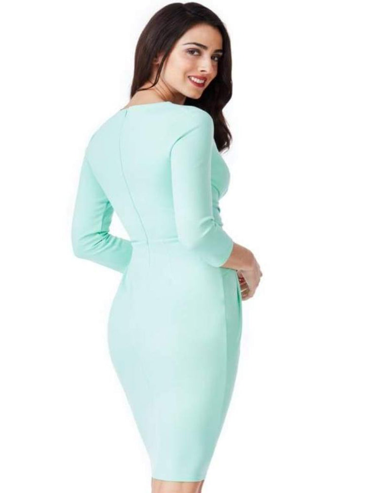 CELA FITTED PLEATED MIDI DRESS MINT - Fashion Trendz